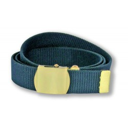 Ceinture en sangle bleu finition or